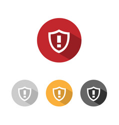 Warning shield icon with shade on colored buttons vector