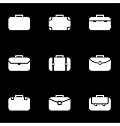white briefcase icon set vector image