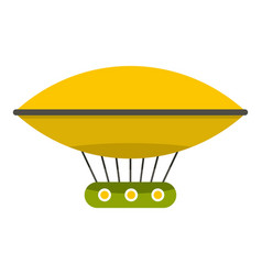 yellow retro hot air balloon icon isolated vector image