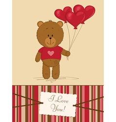 Teddy bear with heart balloons vector