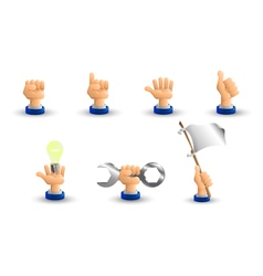 Arm business hand a set of seven hand gestures 3d vector