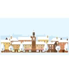 Winter cityscape old town vector
