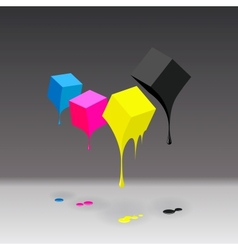 CMYK cubes with blobs on grey background vector image