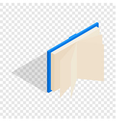 Blue open book isometric icon vector