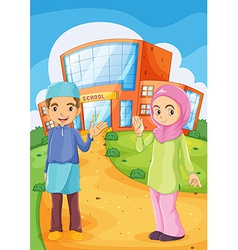 A male and a female Muslim in front of a school vector image