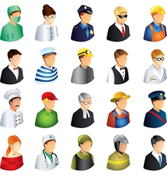 Icons professions faces vector