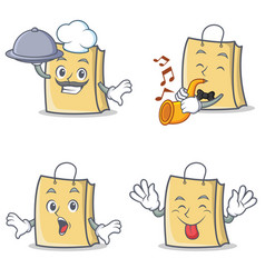 Set of bag character with chef trumpet tongue out vector