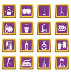 House cleaning icons set purple vector