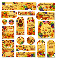 Thanksgiving day sale poster banner label vector