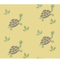 Seamless pattern with funny turtles vector