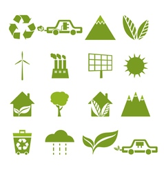 Set of icons of ecology environment green energy vector image