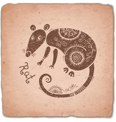 Rat chinese zodiac sign horoscope vintage card vector