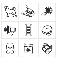 Search dog and crime icons set vector
