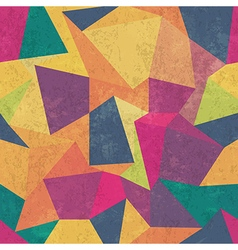 Seamless grunge colorful triangles pattern vector
