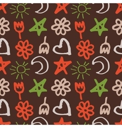 Seamless pattern with stars hearts sun moon vector