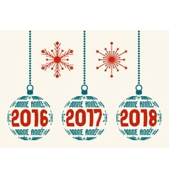 French retro new year 2016 -2018 design elements vector