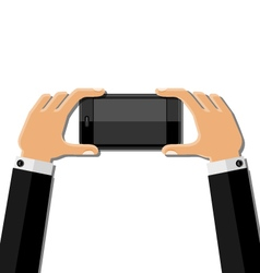 Hands holding mobile phone vector