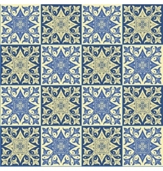 Hand drawing seamless pattern for tile in blue and vector