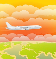 Flying aircraft in the sky Flat design vector image