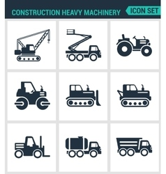 Set of modern icons construction heavy vector