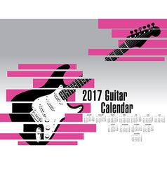 A 2017 calendar with an abstract shredded guitar vector image vector image