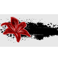 Abstract grunge background with red flower vector image