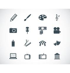 black art icons set vector image vector image