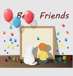 boy playing with his best friend pet vector image