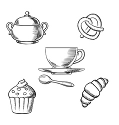 Breakfast with coffee and pastry desserts vector image