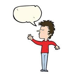Cartoon dismissive man with speech bubble vector