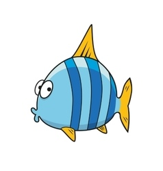 Cartoon isolated blue striped fish vector image