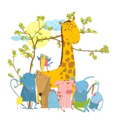 Cartoon zoo friends animals group vector