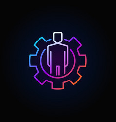 Colorful man in cog icon vector