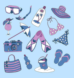 Colorful set with objects for beach holidays vector
