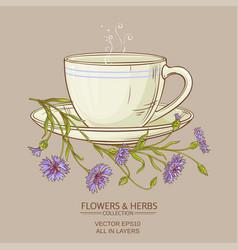 cup of corn flower tea vector image vector image