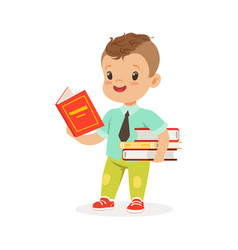 cute boy reading a book while standing and holding vector image vector image