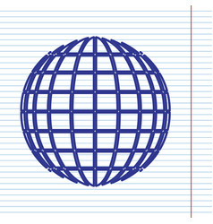 Earth globe sign navy line icon on vector
