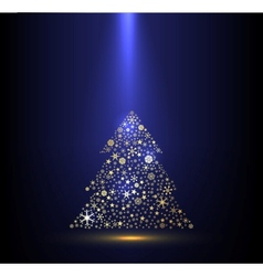 Gold and blue background with christmas tree vector