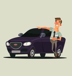happy smiling car dealer seller man character vector image