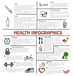 Healthy lifestyle and bad habits infographics with vector