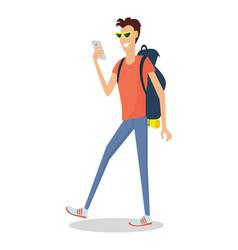 hiker traveler flat design vector image vector image