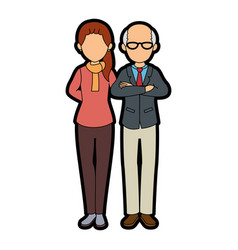 Isolated grandparents couple vector
