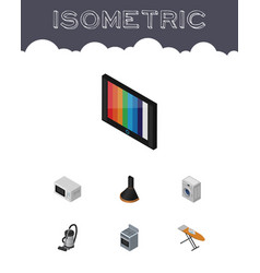 isometric appliance set of cloth iron vac vector image vector image