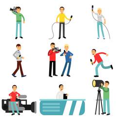 journalists at work set reporters and cameramen vector image vector image