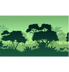 Landscape jungle on green background vector