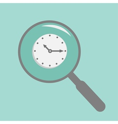 Magnifier and clock Flat design style vector image