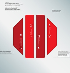 Octagon template consists of four red parts on vector