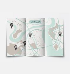 Open paper city map vector