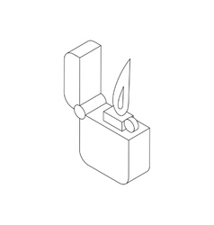 Pocket lighter with fire icon isometric 3d style vector