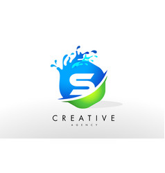 s letter logo blue green splash design vector image vector image